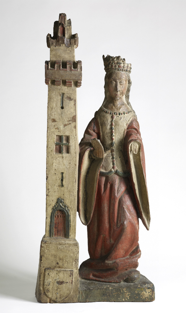 Sainte Barbe, sculpture en bois de noyer, vers 1510, inv. 001468, © MAH, photo: B. Jacot-Descombes