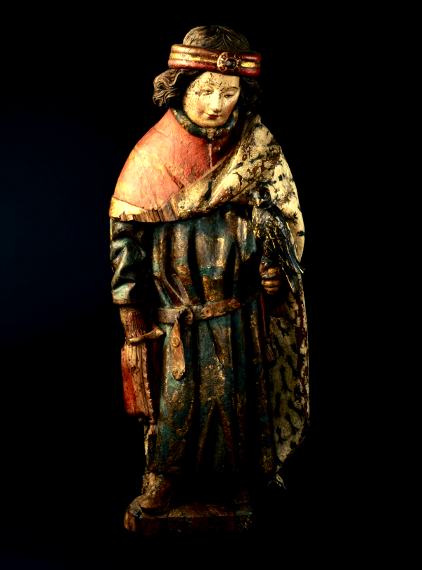 Saint Thibault, Bourgogne, vers 1430. Bois de noyer recouvert d'une polychromie ancienne, Ancienne collection Maurice Battelli, Genève, dépôt de la Fondation Jean-Louis Prévost, 1980  ©MAH, Photo: Bettina Jacot-Decombes, inv. 1980-292