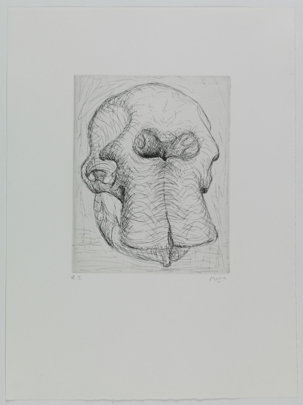 Henry Moore, «An elephant skull was recently added to Moore's maquette studio» (Elephant Skull, pl. I), 1970 Eau-forte, 252 x 199 mm (cuvette) ©MAH, CdAG, Genève, Dépôt de la Fondation G. Cramer, photo A. Longchamp
