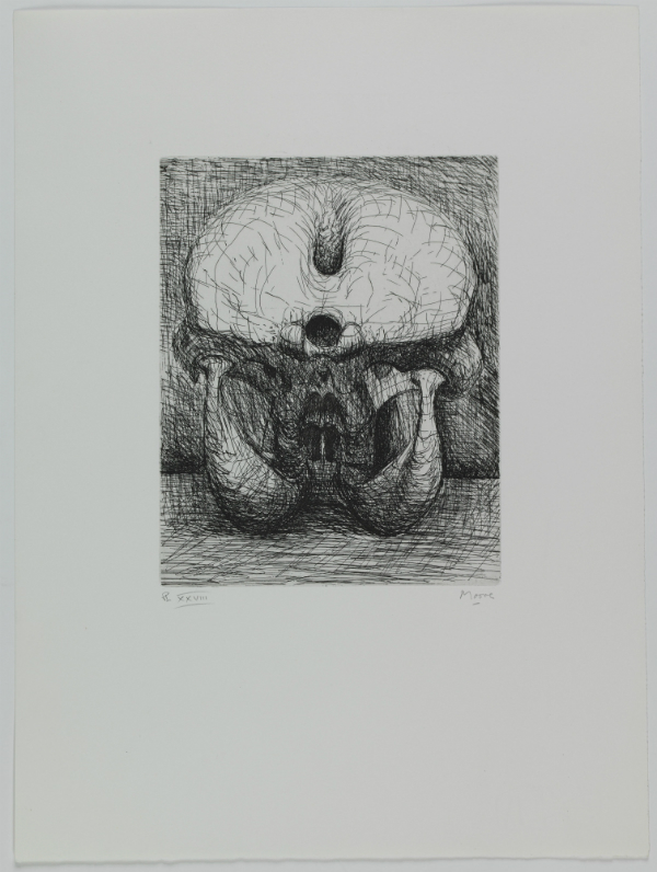 Henry Moore, «Skull back view - Tunnels regressions, dark depths» (Elephant Skull, pl. XXVIII), 1970. Eau-forte, 250 x 198 mm (cuvette) ©MAH, CdAG, Dépôt de la Fondation G. Cramer, photo A. Longchamp
